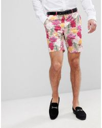 ASOS - Wedding Skinny Smart Shorts In Pink Floral Print - Lyst
