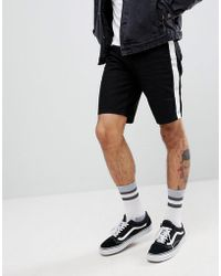 ASOS - Denim Shorts In Slim Black With White Side Stripe And Popper Detail - Lyst