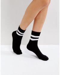 ASOS - Design Stripe Ribbed Ankle Socks - Lyst
