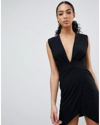 PrettyLittleThing - Plunge Wrap Dress - Lyst