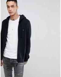 AllSaints - Zip Through Hoodie In Black With Logo - Lyst