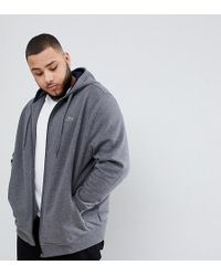 Lacoste - Big Fit Hooded Zip Through Sweat In Grey - Lyst