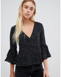 Glamorous - Blouse With Flare Sleeves - Lyst