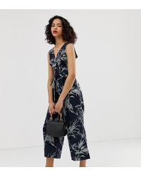 Warehouse - Jumpsuit With Button Front In Tropical Print - Lyst