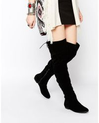 Daisy Street - Black Over The Knee Tie Back Flat Boots - Lyst