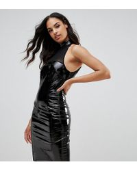 Naanaa - Bodycon Dress With Mesh Detail In Pvc - Lyst
