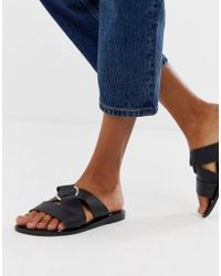 a6a2c54a9dfc76 ASOS - Frankie Leather Ring Detail Flat Sandals - Lyst