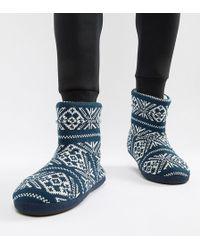 ASOS DESIGN - Slipper Boots In Navy Christmas Fairisle - Lyst
