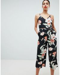 AX Paris - Tropical Print Culotte Jumpsuit - Lyst