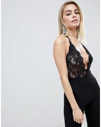 Club L - Allover Lace Sheer Body In Black - Lyst