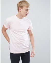 New Look - T-shirt With Roll Sleeves In Pink - Lyst