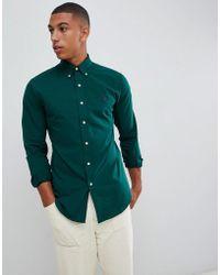 Polo Ralph Lauren - Slim Fit Poplin Shirt Player Logo Button Down In Dark Green - Lyst