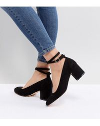 London Rebel - Wide Fit Mid Block Heeled Shoes - Lyst