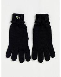 Lacoste - Guanti lavorati a maglia neri con logo - Lyst