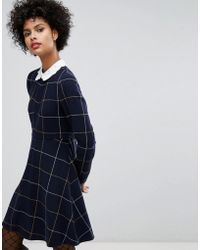 Sonia by Sonia Rykiel - Big Checked Wool Dress With Embroidered Collar - Lyst