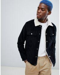 Bershka - Trucker Jacket In Black With Fleece Collar - Lyst