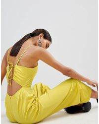 Fashion Union | Cami Jumpsuit With Tie Back In Satin | Lyst