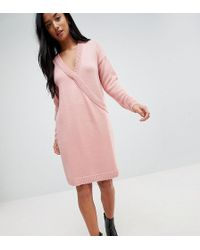 ASOS - Chunky Knitted Dress With Wrap Detail - Lyst