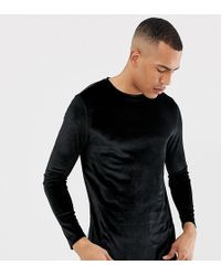 ASOS - Tall Longline Long Sleeve T-shirt In Velour With Curved Hem In Black - Lyst