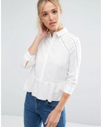 ASOS - Lace Insert Blouse In Soft Twill - Lyst