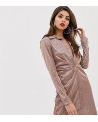 ASOS - Sparkle Sexy Drape Bodycon Shirt Dress - Lyst