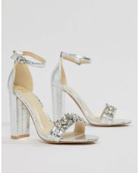 9119acf9bac9 True Decadence Silver Embellished Strappy Heeled Sandals in Metallic ...