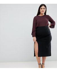 ASOS - Asos Design Curve Midi Skirt With Front Split - Lyst