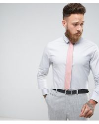 ASOS - Skinny Shirt In Grey With Pink Textured Tie Save - Lyst