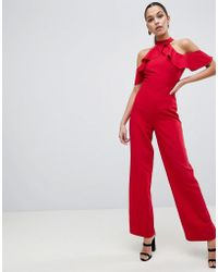 Lipsy - Halter Neck Jumpsuit With Ruffle Detail - Lyst