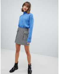 Mango - Mini Dog Tooth Pocket Front Skirt In Black - Lyst