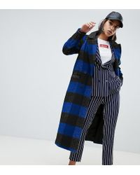 NA-KD Check Lightweight Coat In Black And Blue
