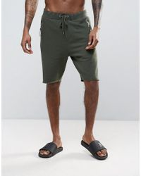 ASOS - Skinny Jersey Shorts With Zips In Khaki - Lyst