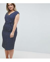 Closet London Plus - Wrap Front Pencil Dress In Polka Print - Lyst