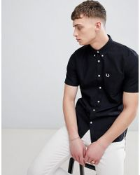 Fred Perry - Classic Oxford Short Sleeve Shirt In Black - Lyst