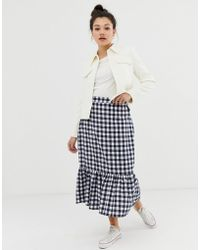 Daisy Street - Midaxi Skirt With Peplum Hem In Gingham - Lyst