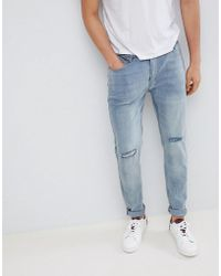 D-Struct - Skinny Washed Knee Rip Jeans - Lyst