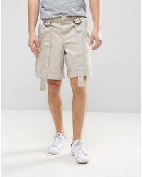 ASOS - Slim Shorts With Safari Strap Detail In Stone - Lyst