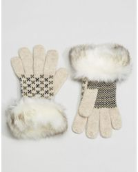 Alice Hannah - Fairisle Glove With Fur Trim - Lyst