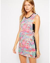 Insight - Static Print Lace Up Detail Beach Dress - Lyst