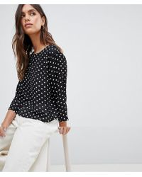 Vila - Polka Dot Cropped Top With Open Back - Lyst
