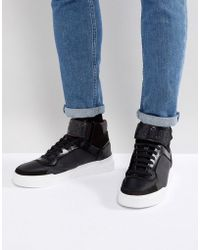 HUGO | Hugo Symmetric Hi Top Logo Trainers In Black | Lyst