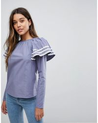 Fashion Union - Blouse With Exaggerated Shoulder Detail - Lyst