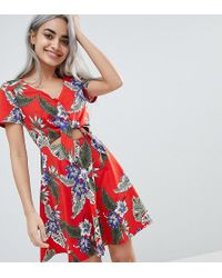 7bac74ae3ce ASOS - Asos Design Petite Skater Sundress With Button Front And Tie Knot In  Hawaiian Print