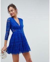 ASOS - Asos Long Sleeve Lace Mini Prom Dress - Lyst
