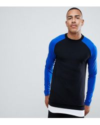 ASOS - Tall Muscle Fit Sweatshirt With Raglan Sleeves And Hem Extender - Lyst