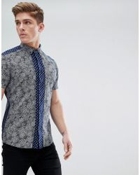 Solid - Short Sleeve Shirt In Contrast Ditsy Print - Lyst