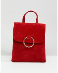 ASOS DESIGN - Suede Mini Backpack With Ring - Lyst