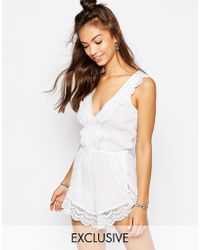 Wolf & Whistle - Lace Trim Beach Playsuit - Lyst