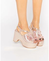 Daisy Street - Floral Embellished Shoe - Pink - Lyst