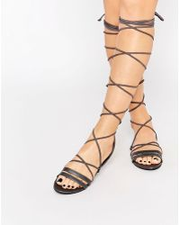 Daisy Street - Grey Lace Up Gladiator Flat Sandals - Lyst